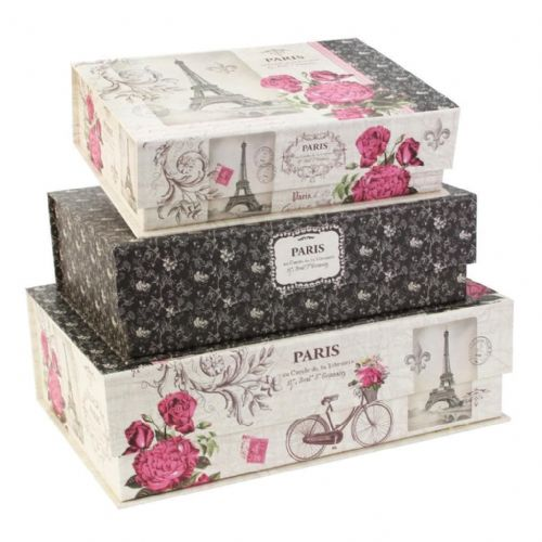 tri coastal pretty storage box french inspiration set of 3. Black Bedroom Furniture Sets. Home Design Ideas
